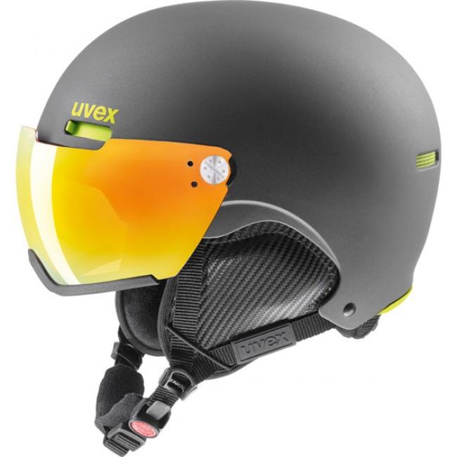 Uvex hlmt 500 skihjelm med visir, sort/lime thumbnail