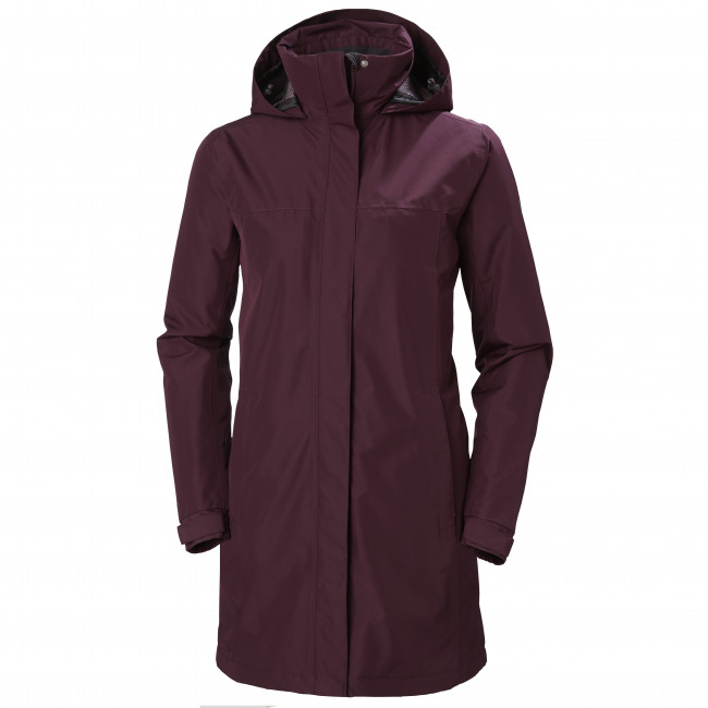 Helly Hansen Aden Long Insulated Regnfrakke, Bordeaux Regntøj Til Damer