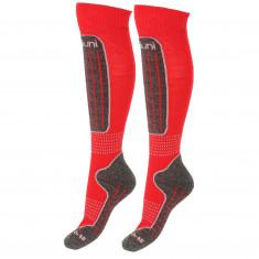 Deluni skistrømper, 2 par, rød