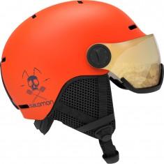 Salomon Grom Visor, skihjelm med visir, orange