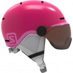 Salomon Grom Visor, skihjelm med visir, pink