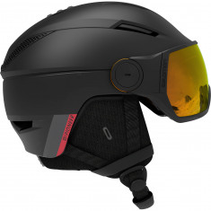 Salomon Pioneer Visor Photo, skihjelm med visir, sort/rød