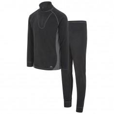 Trespass Thriller fleece skiundertøj sæt, unisex, sort